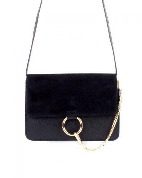 Leren Tas Faye Suede zwart zwarte leren tassen met suede flap gouden ring en ketting musthave it bags fashion bestellen leather itbags giuliano