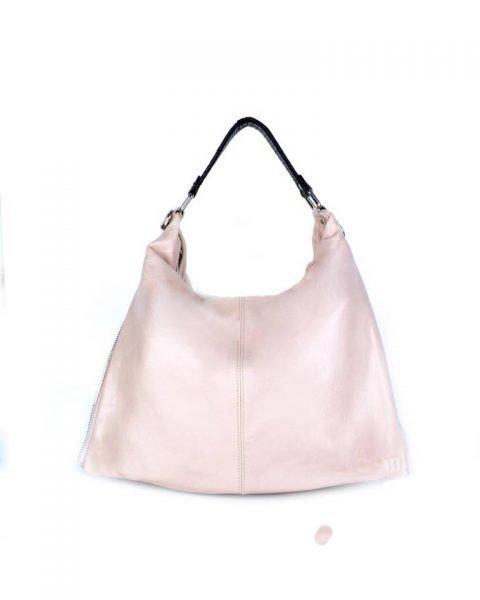Leren Tas Khloe roze nude grote lederen dames schoudertassen grote stevige luxe guiliano it bags look a like italiaans leer online