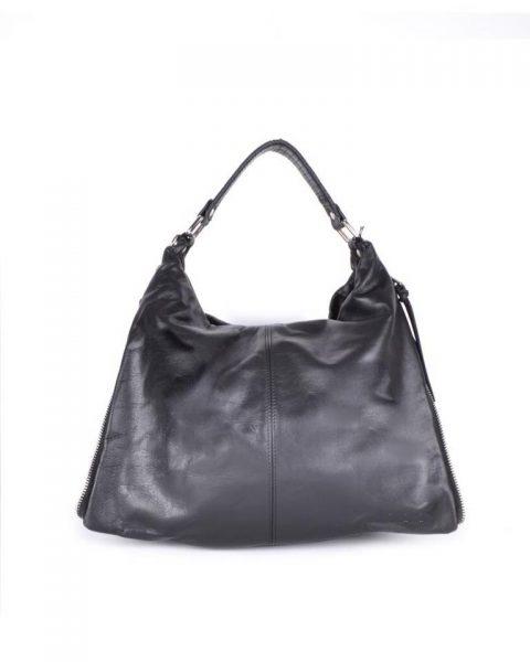 Leren Tas Khloe zwart zwarte grote lederen dames schoudertassen grote stevige luxe guiliano it bags look a like italiaans leer online - kopie