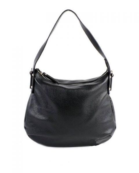 Leren Tas Miley zwart zwarte lederen handtassen tassen zilver beslag musthave giuliano leer italiaans dames it bags online