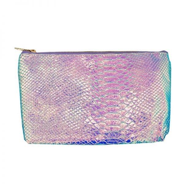 Make-up tasje Sweet Mermaid blauw blauwe metallic snake slangenprint etui dames tasjes fashion musthave online kopen