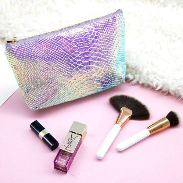 Make-up tasje Sweet Mermaid blauw blauwe metallic snake slangenprint etui dames tasjes fashion musthave online kopen bestellen