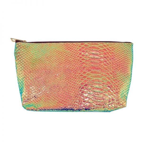 Make-up tasje Sweet Mermaid oranje metallic snake slangenprint etui dames tasjes fashion musthave online kopen