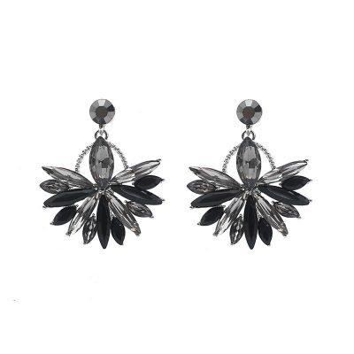 Oorbellen Bling Leaf zwart zilveren glas oorbellen oorhangers dames sieraden kerst chique sexy oorbellen fashion musthaves