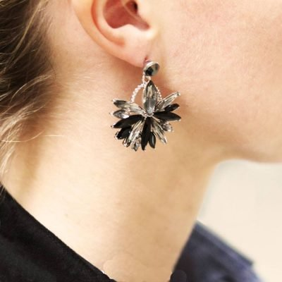 Oorbellen Bling Leaf zwart zilveren glas oorbellen oorhangers dames sieraden kerst chique sexy oorbellen fashion musthaves kopen