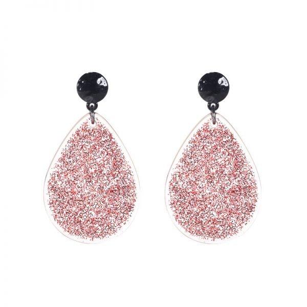 Oorbellen Give Me Glitter rood rode roze glitters grote dames oorbellen oorhangers Earrings sieraden sparkle bling sieraden fashion accessoires online