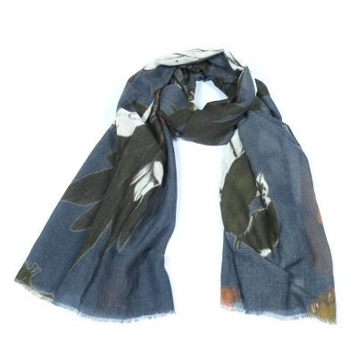 Sjaal Fall Leaves blauw blauwe dames sjaals met bladeren print Scarfs fashion musthave vrouwen accessoires werk