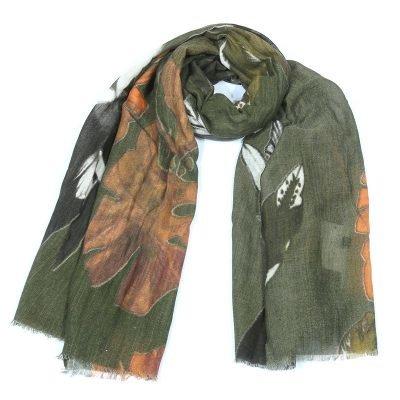 Sjaal Fall Leaves groen groene dames sjaals met bladeren print Scarfs fashion musthave vrouwen accessoires werk