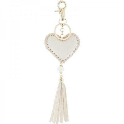 Sleutelhanger Hart creme nude beige key chain heart fringe tassen hanger dames fashion accessoires online bestellen musthaves