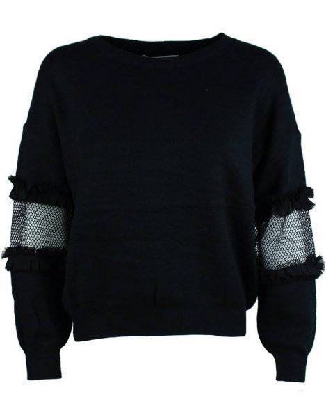 Trui Syl zwart zwarte fijn gebreide dames truien met stuk doorzichtige mouwen white sweaters fashion musthaves kopen