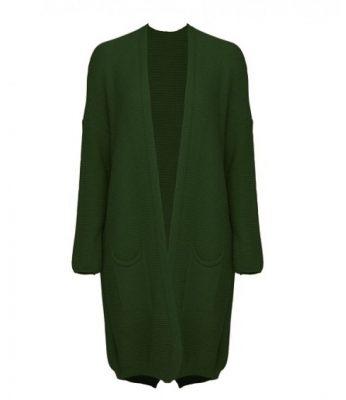 Vest Classy groen groene lange dames vesten dikke willen open vesten zakken kleding winter online fashion kopen
