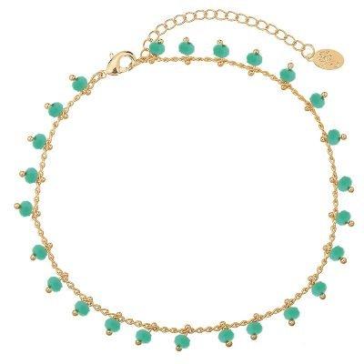 Enkelbandje Tiny Beads-goud gouden-enkel bandjes groene steentjes dames-enkelbandjes-online-bestellen-kopen -ankle-strap-