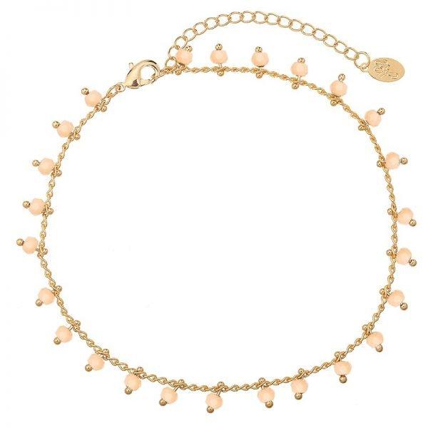 Enkelbandje Tiny Beads-goud gouden-enkel bandjes taupe steentjes dames-enkelbandjes-online-bestellen-kopen -ankle-strap-