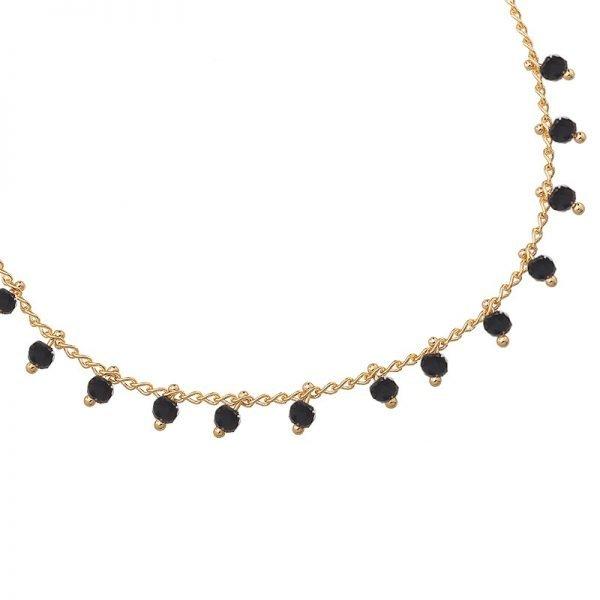 Enkelbandje Tiny Beads-goud gouden-enkel bandjes zwarte steentjes dames-enkelbandjes-online-bestellen-kopen -ankle-strap detail. jpg