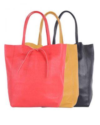 Leren-Shopper-Simple-rood rode zwart zwarte okergeel gele -ruime-dames-shopper-zacht-leer-online-luxe-dames-tassen-italie-bestellen-557x600
