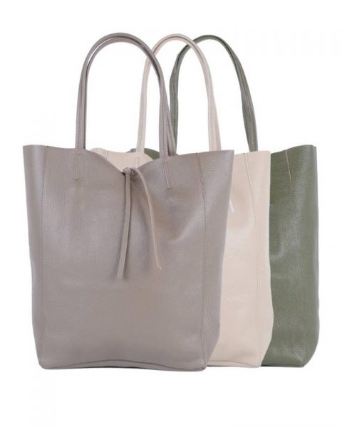 Leren-Shopper-Simple-taupe beige groen groene-ruime-dames-shopper-zacht-leer-online-luxe-dames-tassen-italie-bestellen-557x600