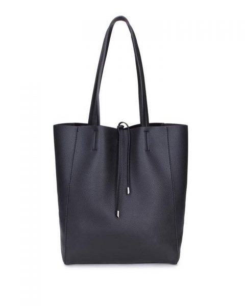Leren-Shopper-Simple- zwart zwarte ruime-dames-shopper-zacht-leer-online-luxe-dames-tassen-italie-bestellen-557x600
