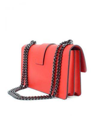 Leren Tas Birds rood rode vogel gesp stevige dames schoudertassen kettinghengsel schoudertas musthave it bags online achterkant