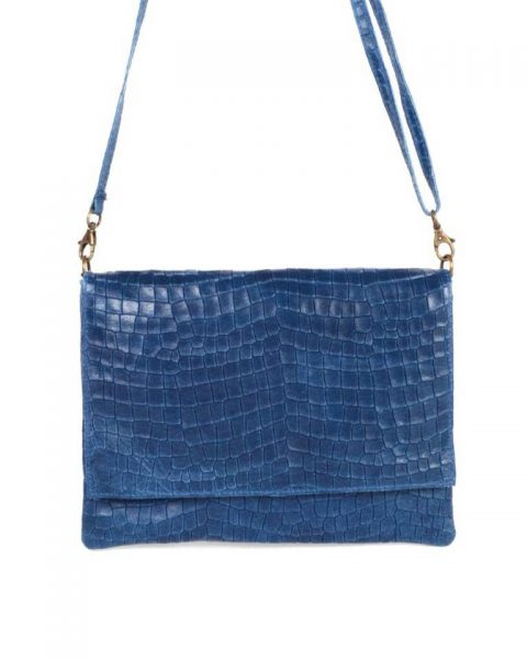 Leren Tas Croco Love blauw blauwe schoudertas clutch dames tassen giulano kroko leder musthave fashion itbags online