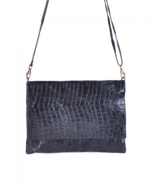 Leren Tas Croco Love zwart zwarte schoudertas clutch dames tassen giulano kroko leder musthave fashion itbags online