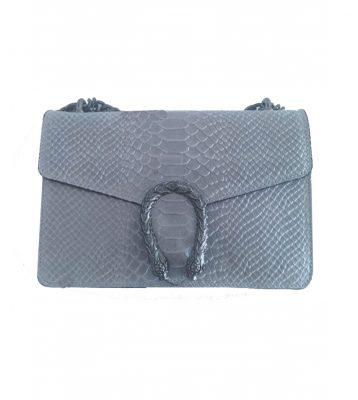 Leren-Tas-Diony-Snake-grijs grijze kroko-croco-klep-sluiting-flap-zilveren-slangenkop-sluiting-kettinghengsel-lederen-tassen-slangenprint-online-look-a-like bestellen
