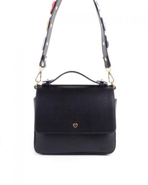 Leren Tas Double Flowers zwart zwarte leren tassen 2 vakken extra schouderband met bloementjes leder leather itbags online luxe