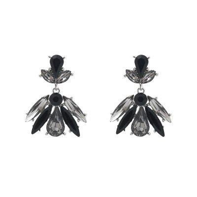 Oorbellen Stylish Leaf zwart zilveren glas oorbellen oorhangers dames sieraden kerst chique sexy oorbellen fashion musthaves