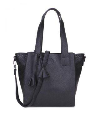 Tas Chevie zwart zwarte dames handtassen luxe kwastje giulliano kunstleder stoere tassen vrouwen online kopen bestellen itbags