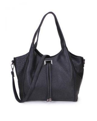 Tas Gracia zwart zwarte chique dames tassen met touwtjes 2 soorten kunstleder it bags online bestellen kopen ruime tassen