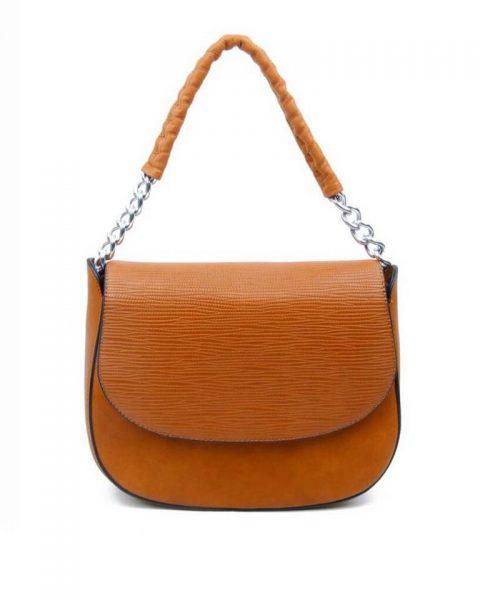 Tas-Maya- bruin bruine -dames-schoudertassen-korte-zilveren-hengsel-dames-tassen-it-bags-guiliano-online itbags kopen bestellen