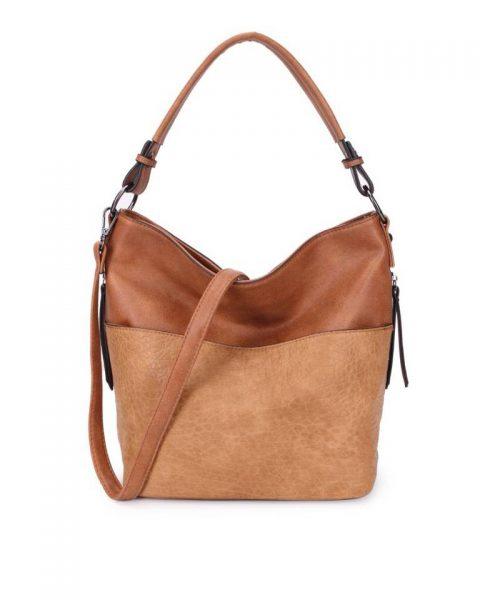 Tas Pattie bruin bruine dames handtassen giulliano kunstleder stoere tassen vrouwen online kopen bestellen itbags