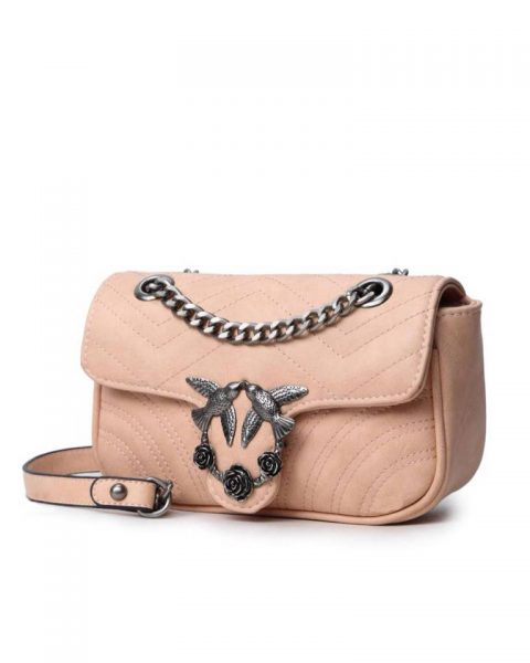 Tas-birds-roze pink-kunstlederen-it-bag-schoudertas-kettinghengsel-zilveren-vogel-en-rozen-sluiting-musthave-fashion-tassen-online vrouwen bestellen