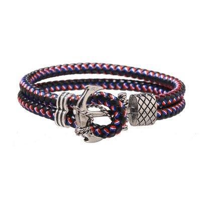 Armband Sailor zwart rood blauwe brede stoere armbanden mannen met zilveren anker slot kado mannen online bestellen Bracelet for men