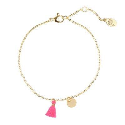 Armband Tassel Row goud gouden armbanden gekleurde neon roze kwastjes gouden bedel dunne boho dames armbanden sieraden bracelet pink tassel online