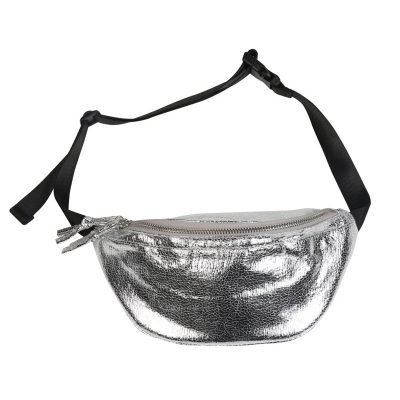 Heuptas Glam Queen zilver zilveren metallic glans Fanny Pack heuptasje dames fashion musthave tassen festival heuptassen rits