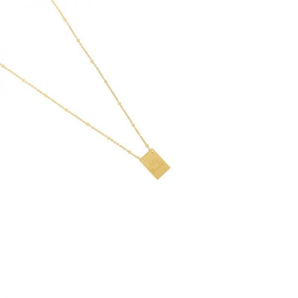 Ketting Let's Wander goud gouden dames dunne ketting met bedel kant met tekst en kompas musthave fashion necklages