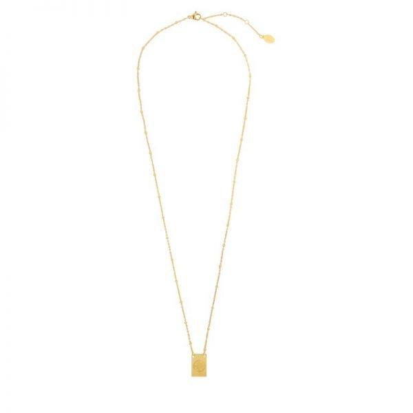 Ketting Let's Wander goud gouden dames ketting met bedel kant met tekst en kompas musthave fashion necklage
