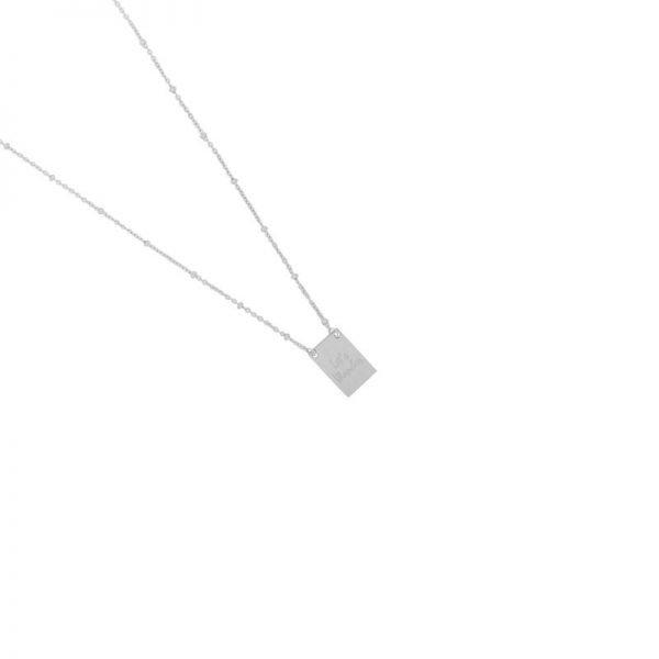 Ketting Let's Wander zilver zilveren dames dunne ketting met bedel kant met tekst en kompas musthave fashion necklages