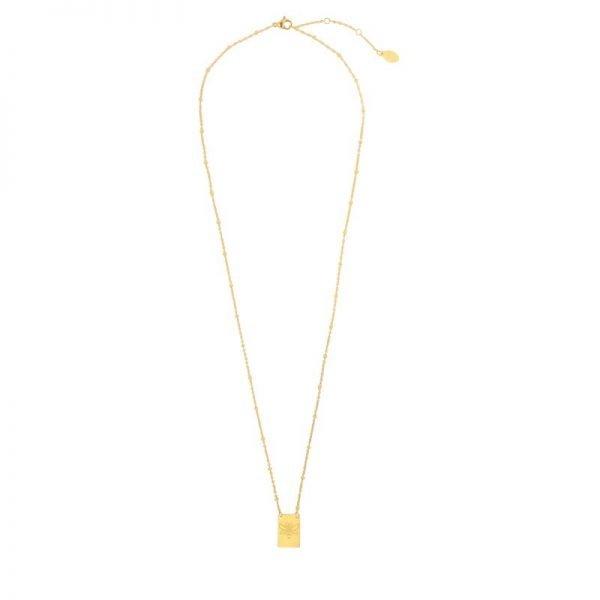 Ketting Queen B goud gouden dames ketting met bedel kant met tekst Queen Bee en bij musthave fashion necklage - kopie