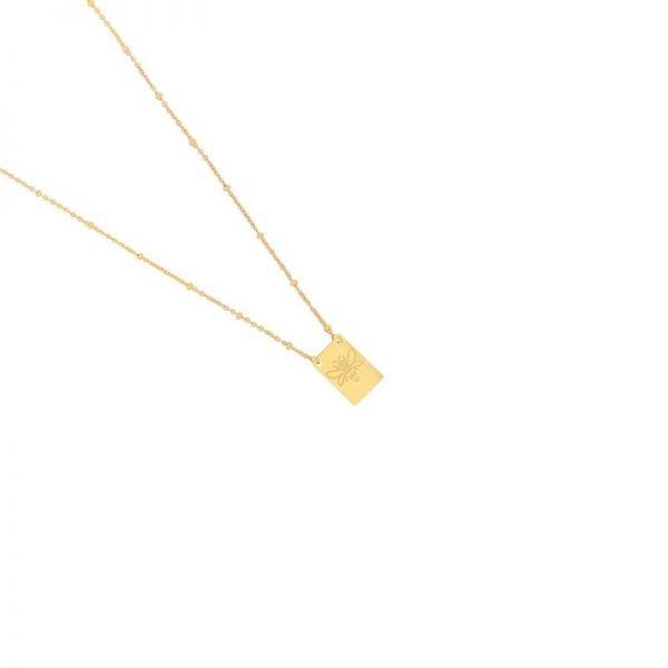 Ketting Queen B goud gouden lange dames ketting met bedel kant met tekst Queen Bee en bij musthave fashion necklage - kopie