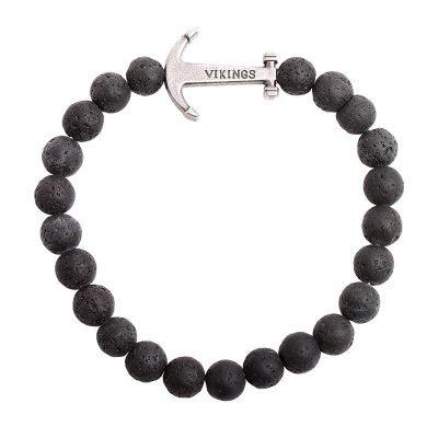 Mannen armband Viking donker zwart zwarte stoere kralen armbanden mannen met zilveren viking bedel kado mannen online bestellen Bracelet for men