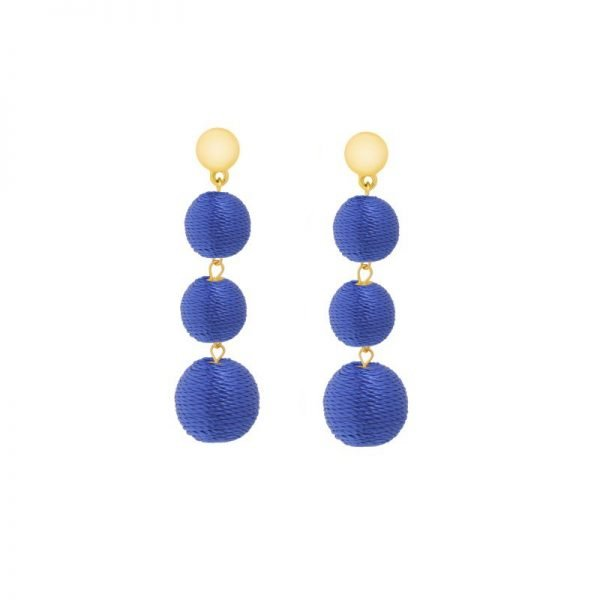Oorbellen Happy Balls blauw blauwe lange oorbel oorhanger rondjes touw musthave fashion oorbellen earrings look a like online