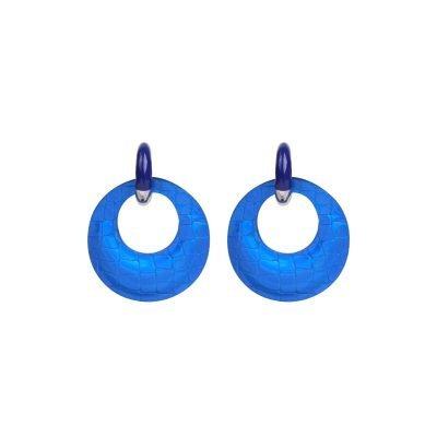 Oorbellen Holographic blauw blauwe ronde dame oorbel felle kleuren ronde glans snake print musthave fahion oorbellen online