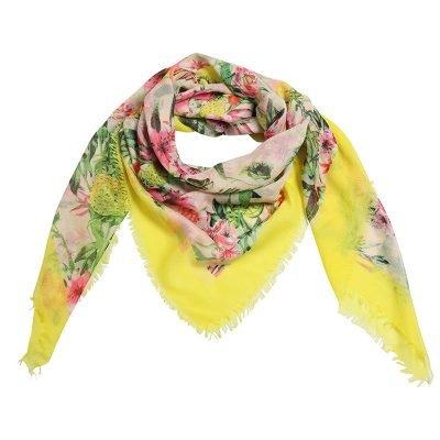 Sjaal Botanic paradise geel gele multi gekleurde dames sjaals met gekleurde bloemenprint vogels bomen musthave fashion omslagdoeken shawls sjaaltjes online