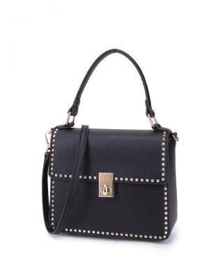 Tas bella studs zwart zwarte tassen kunstleder vierkante studs look a like it bags 2018 musthave fashion bags online kopen buy