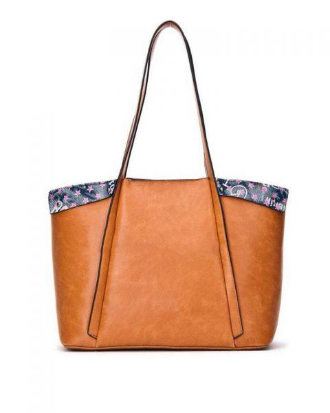 Bag in Bag Shopper Funky bruin bruine grote dames tassen kunstleder extra binnentas print goedkope musthave itbags giuliano bestellen