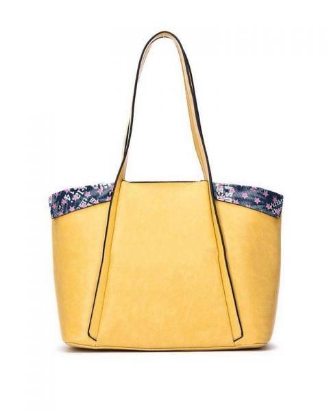 Bag in Bag Shopper Funky geel gele grote dames tassen kunstleder extra binnentas print goedkope musthave itbags giuliano bestellen