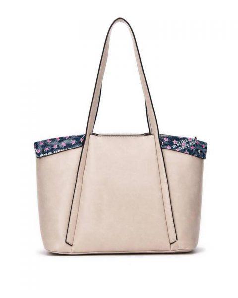 Bag in Bag Shopper Funky grijs grijze taupe grote dames tassen kunstleder extra binnentas print goedkope musthave itbags giuliano bestellen
