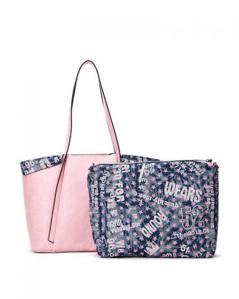 Bag in Bag Shopper Funky roze pink grote dames tassen extra binnentas print goedkope musthave itbags giuliano