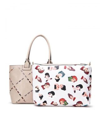 Bag in Bag tas Girls apricot beige nude kunstleder tassen dames geperforeerde voorkant binnen tas print giuliano tassen online